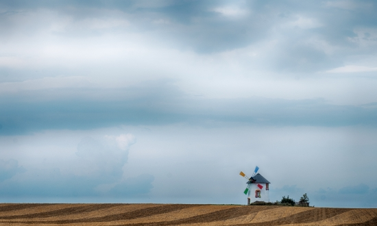 Obraz Barevný obraz větrného mlýnu s krajinou