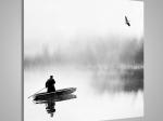 Obraz Nádherný fantasy obraz na jezeře s lodí